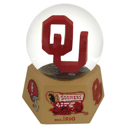 Oklahoma Sooners Mascot Musical Water Globe with Hexagonal Base