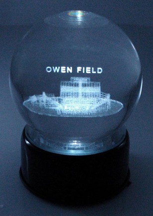 Owen Field (Oklahoma Sooners) Laser Etched Crystal Ball