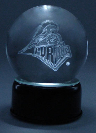 Purdue Boilermakers Logo Laser Etched Crystal Ball