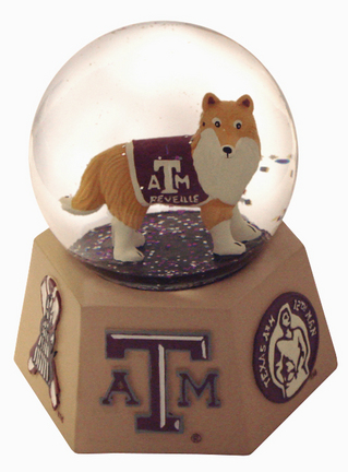 Texas A&M Aggies Mascot Musical Water Globe with Hexagonal Base