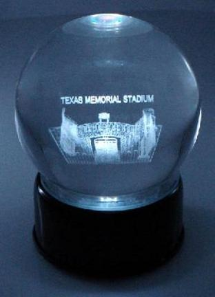 Texas Memorial Stadium (Texas Longhorns) Laser Etched Crystal Ball
