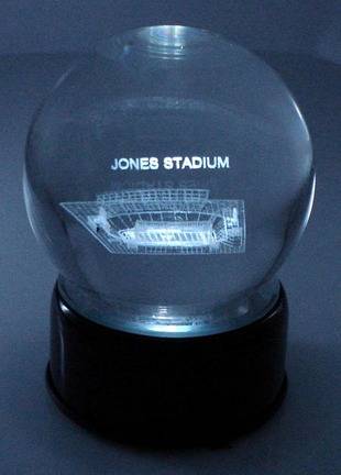Jones Stadium (Texas Tech Red Raiders) Laser Etched Crystal Ball