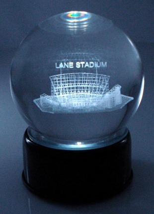 Lane Stadium (Virginia Tech Hokies) Laser Etched Crystal Ball