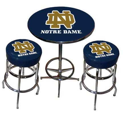 Notre Dame Fighting Irish Chrome Pub Table with Two Bar Stools