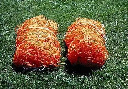 Polyethylene Official Size Orange Soccer Net - One Pair