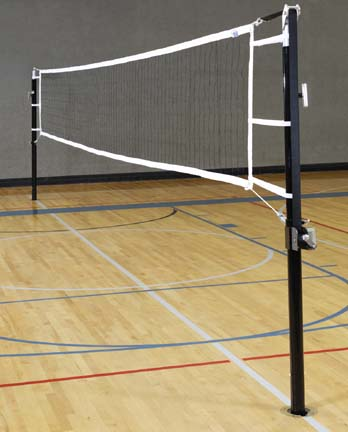 "Game Standards And Net for 3"" Aluminum Power Volleyball System - (One Standard with Winch, One Standard without Win"