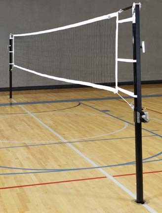 """Game Standards And Net for 3"""" Steel Power Volleyball System - (One Standard with Winch, One Standard without Winch,"""