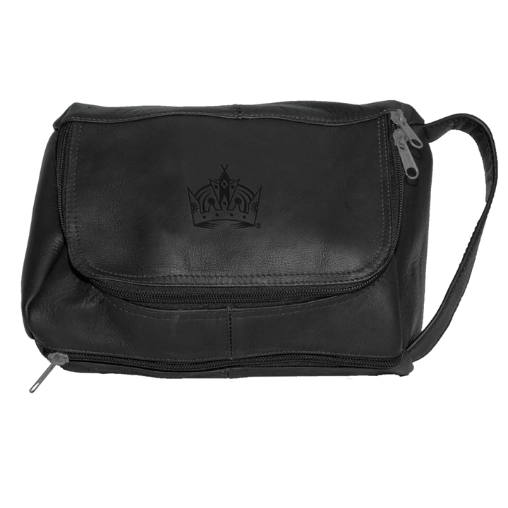 Los Angeles Kings Pangea Black Leather Deluxe Shaving Kit Bag SMG-PANGHKYLAKSHB