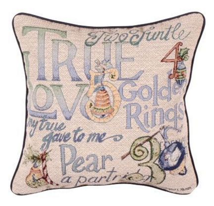 """12 Days Of Christmas 17"""" x 17"""" Holiday Pillow From Simply Home"""