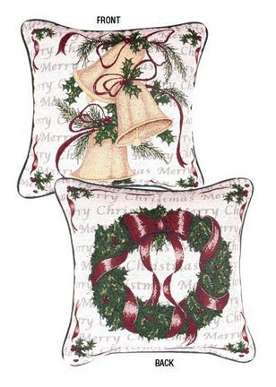 """Traditions of Christmas (Wreath / Bells) 17"""" x 17"""" Holiday Pillow From Simply Home"""