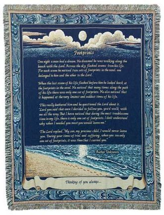 """Footprints 50"""" x 70"""" Full-Size Tapestry Throw Blanket From Simply Home"""