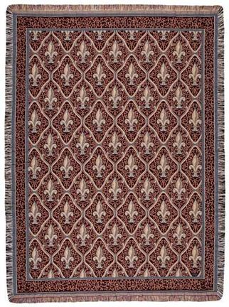 """Fleur De Lis Red 50"""" x 60"""" Tapestry Throw Blanket From Simply Home"""