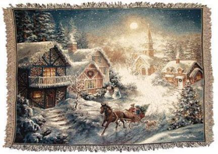 """One Horse Open Sleigh 50"""" x 60"""" Tapestry Throw Blanket From Simply Home"""