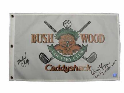 Cindy Morgan and Michael OKeefe Autographed Caddyshack Golf Pin Flag
