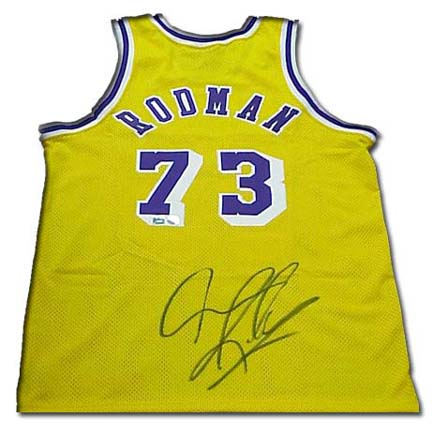 Dennis Rodman Autographed Los Angeles Lakers Authentic Nike Gold Throwback Basketball Jersey