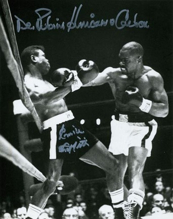 """Rubin """"Hurricane"""" Carter and Emile Griffith Autographed Black and White 8"""" x 10"""" Photograph (Unframe"""