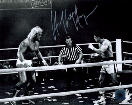 """Hulk Hogan """"Thunderlips"""" Autographed 16"""" x 20"""" Photograph (Unframed) with Sylvester Stallone """"R"""