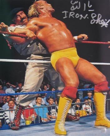 "Iron Sheik Autographed ""vs. Hulk Hogan"" 16"" x 20"" Photograph (Unframed)"