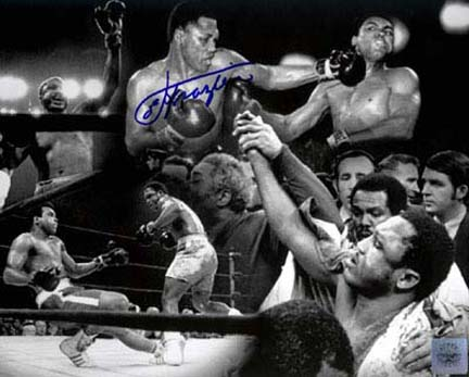 Joe Frazier Autographed 16 x 20 Black & White Photograph featuring a Collage with Muhammad Ali Unframed