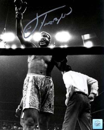 "Joe Frazier Autographed ""Arm Raised"" 16"" x 20"" Black & White Photograph with Muhammad Ali (Unfra"