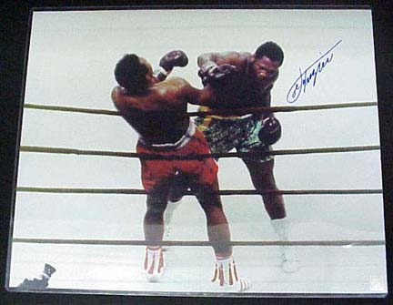"Joe Frazier Autographed ""Against the Ropes"" 16"" x 20"" Color Photo with Muhammad Ali (Unframed)"