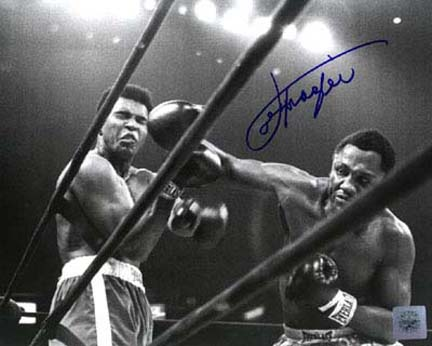 "Joe Frazier Autographed ""Right Cross"" 16"" x 20"" Black & White Photograph with Muhammad Ali (Unfr"