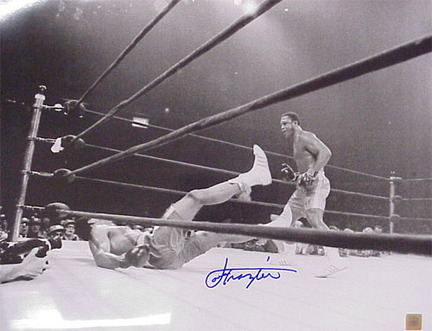 "Joe Frazier Autographed ""vs. Muhammad Ali: Fight Of The Century Knockdown II"" Black and White 30"" x 40&qu"