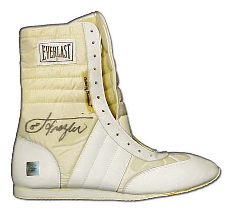 Joe Frazier Autographed Everlast Boxing Shoes with Smokin Inscription Two Shoes One Signed