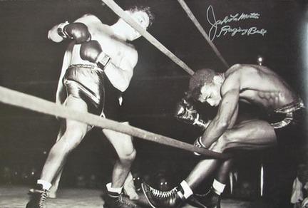 "Jake Lamotta Autographed ""Knocking Sugar Ray Robinson Through Ropes February 1943"" Black and White 20"" x"