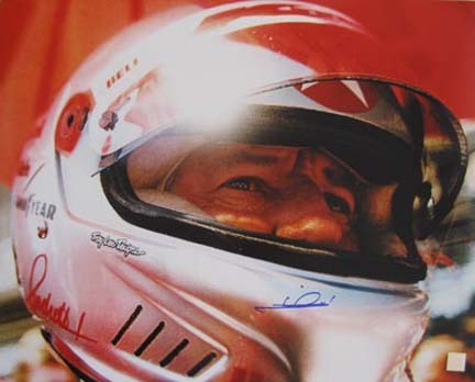 "Mario Andretti Autographed ""Helmet"" 16"" x 20"" Photograph (Unframed)"