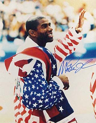"""Magic Johnson Autographed """"Close Up Olympic Flag"""" 16"""" x 20"""" Photograph (Unframed)"""