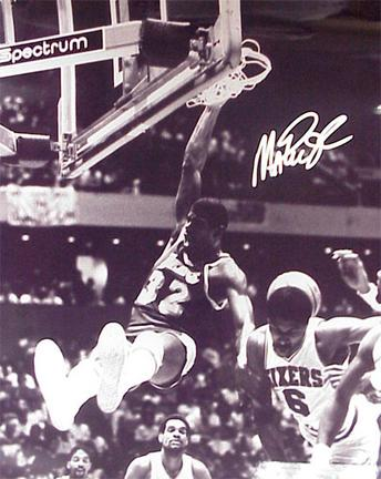 """Magic Johnson Autographed """"Dunking Over Julius Erving"""" Black and White 16"""" x 20"""" Photograph (Unframe"""