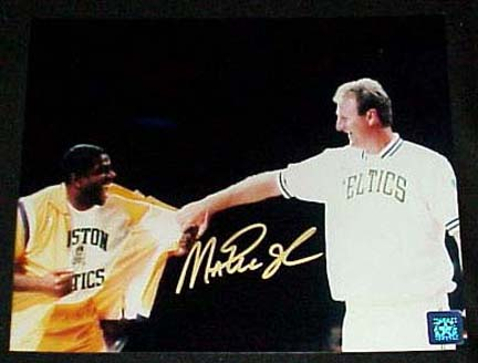 Magic Johnson Autographed Bird Retirement Night 16 x 20 Color Photograph Unframed
