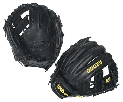"""Image of 11 1/4"""" A2000® Infield Black Glove from Wilson (Worn on the Left Hand)"""