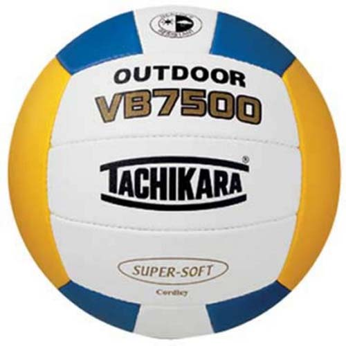 Tachikara Outdoor Super Soft Composite Leather Beach Volleyball (Gold / White / Royal)