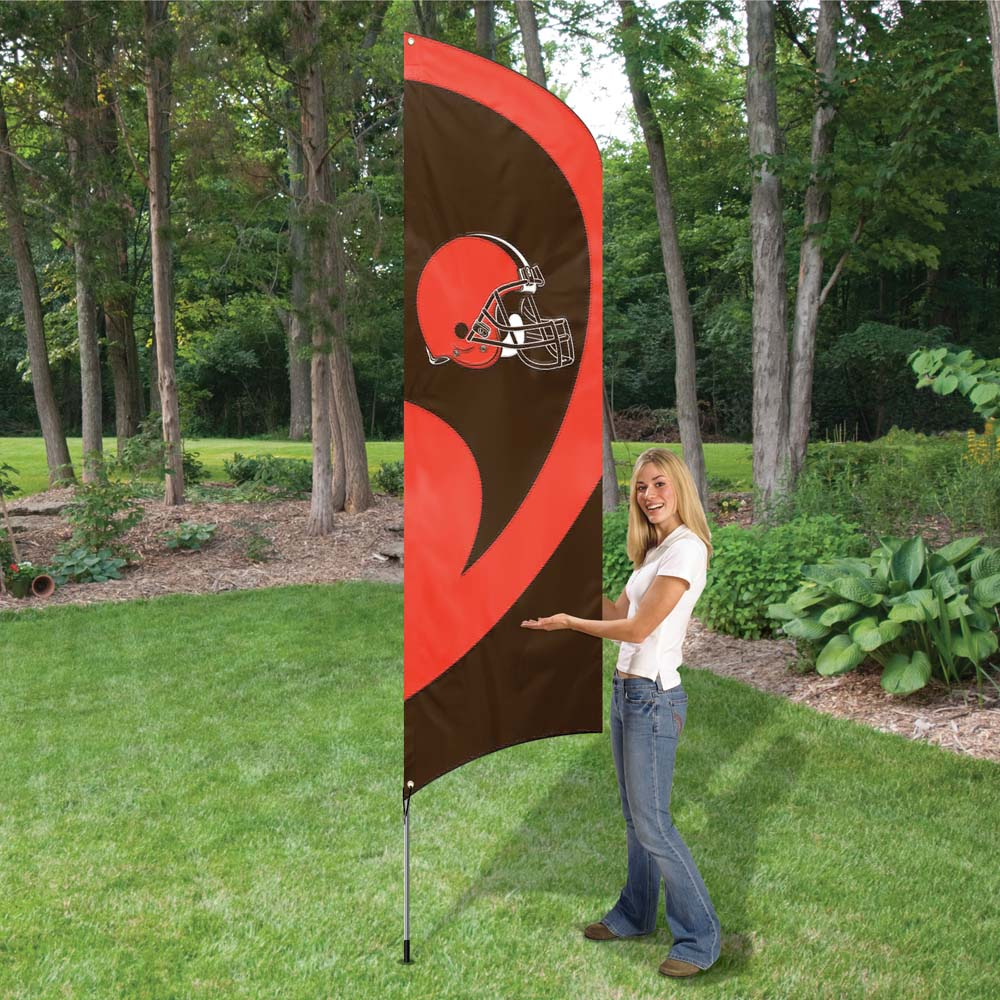 Cleveland Browns NFL Tall Team Flag with Pole