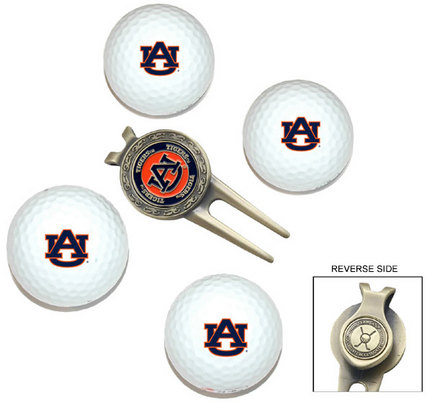 Auburn Tigers Golf Balls, Divot Tool, and Ball Marker Gift Set