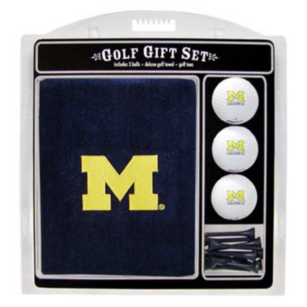Michigan Wolverines Golf Balls, Golf Tees, and Embroidered Towel Set (22220 Team Golf) photo