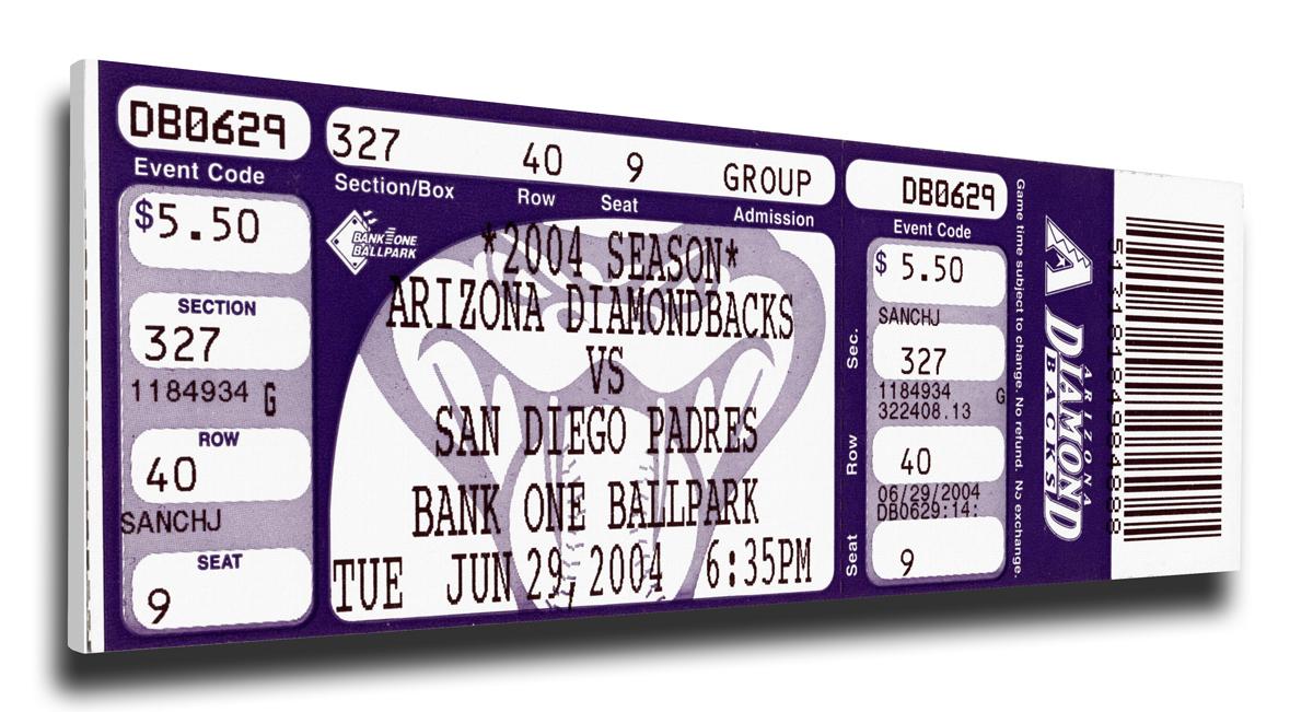 Randy Johnson Arizona Diamondbacks 4,000 Strikeout Mega Ticket TMT-BARIMTRJ4K
