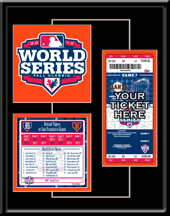 San Francisco Giants 2012 World Series Champions Replica Patch, Roster and Ticket Frame TMT-BSFGPT12WSY