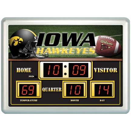 "Iowa Hawkeyes 14"" x 19"" LED Scoreboard Clock and Thermometer"