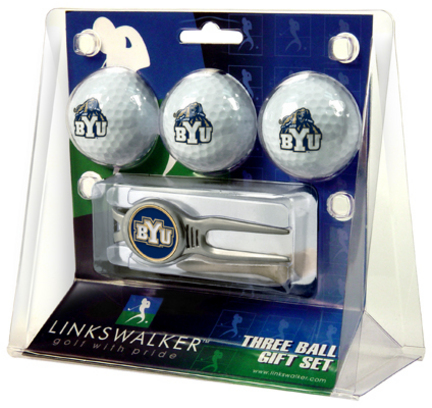 Brigham Young (BYU) Cougars 3 Ball Golf Gift Pack with Kool Tool TTU-LW-CO3-BYC-3PKK