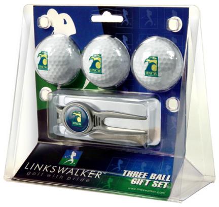 North Carolina (Wilmington) Seahawks 3 Ball Golf Gift Pack with Kool Tool TTU-LW-CO3-NCW-3PKK