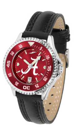 Alabama Crimson Tide  Competitor Ladies AnoChrome Watch with Leather Band and Colored Bezel