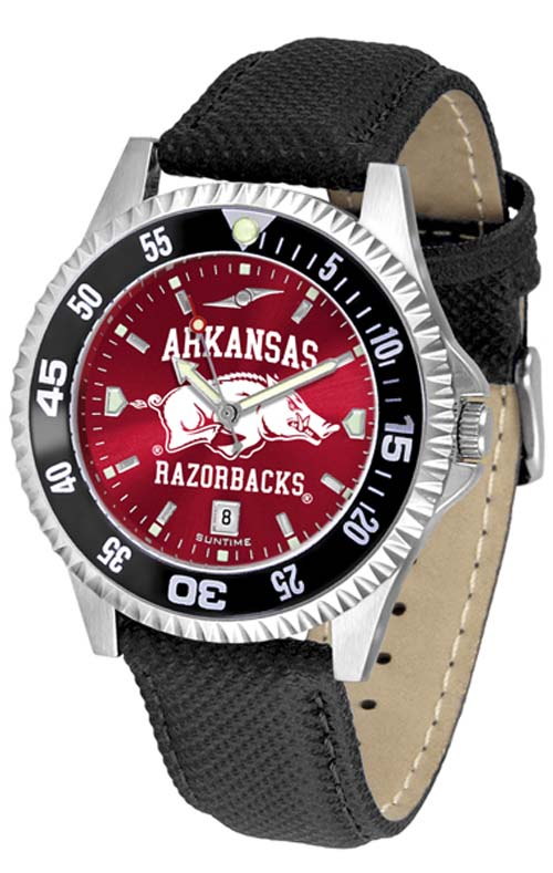 Arkansas Razorbacks Competitor AnoChrome Men's Watch with Nylon/Leather Band and Colored Bezel