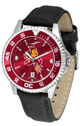Arizona State Sun Devils Competitor AnoChrome Men's Watch with Nylon/Leather Band and Colored Bezel