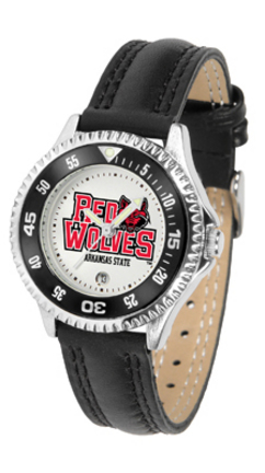 Arkansas State Red Wolves Competitor Ladies Watch with Leather Band