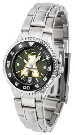 Appalachian State Mountaineers Competitor AnoChrome Ladies Watch with Steel Band and Colored Bezel