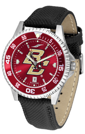 Boston College Eagles Competitor AnoChrome Men's Watch with Nylon/Leather Band and Colored Bezel