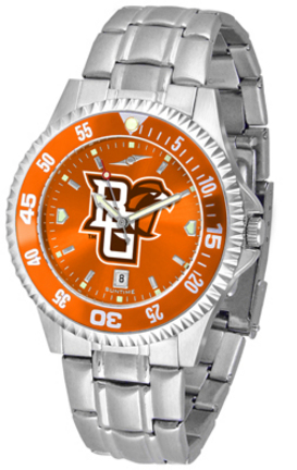 Bowling Green State Falcons Competitor AnoChrome Men's Watch with Steel Band and Colored Bezel